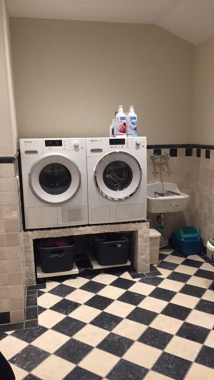 Wasmachine op verhoging