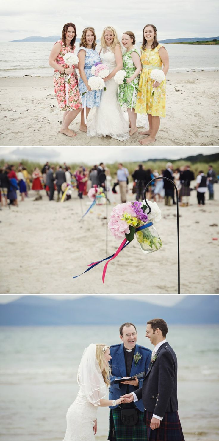 beach wedding south west uk%0A A Rustic Scottish Beach Wedding With Bride In Justin Alexander And Vivien  Of Holloway And Groom In Kilt With Bridesmaids In   s Style Gowns With A