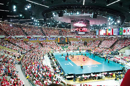 """Spodek"" Arena in Katowice, Poland - host city venue for the FIVB Men's World Championship 2014"