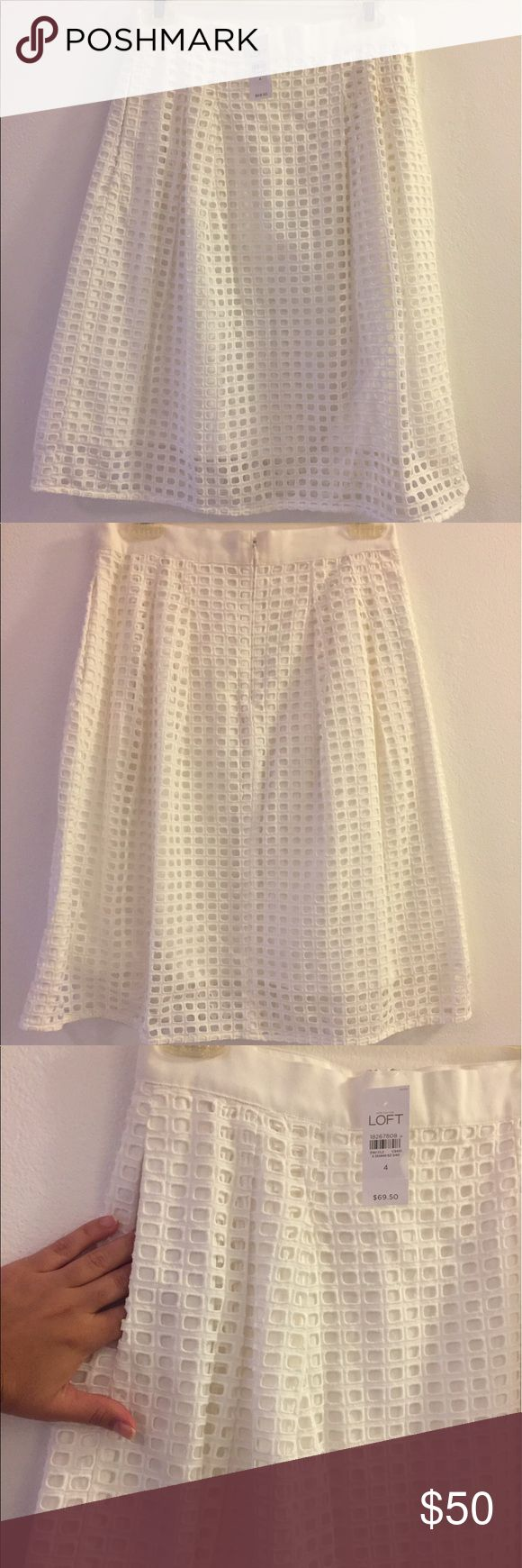 Loft GEO eyelet skirt in white Beautiful white eyelet skirt! Its knee length. NEVER WORN, NEW WITH TAG. And also.... IT HAS POCKETS!!! 😍😍 LOFT Skirts
