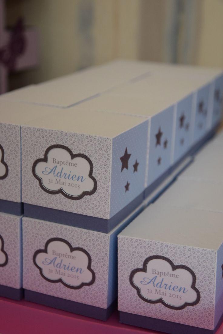 Boîte de dragées avec découpe nuage, liberty gris et pois bleu : Cadeau de remerciement pour baptême picnicdouille.fr