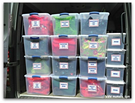 Road Trip organizing ideas!  (I especially love the idea to have a bin/bag for the whole family per night when you will be making multiple stops.  That way you only need to take in one bag per night for the whole family instead of one per person!)