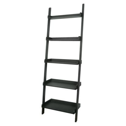 5 tier solid wood leaning bookcase black concepts