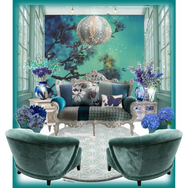 """Aqua sitting room"" by gabidesi on Polyvore"