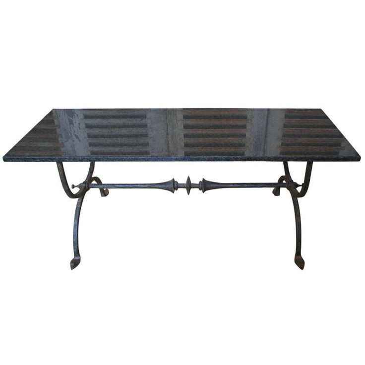 Spanish 1940u0027s Wrought Iron Coffee Table With Black Granite Top | From A