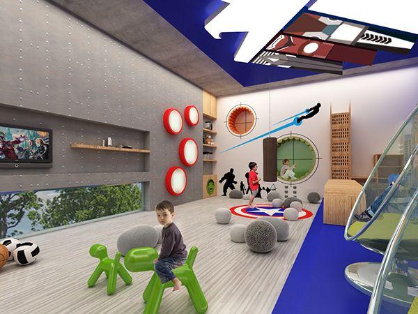 diseo de interiores de un cuarto de juegos para nios inspirado en los avengers en una casa habitacin ubicacin mrida yucatn mxico