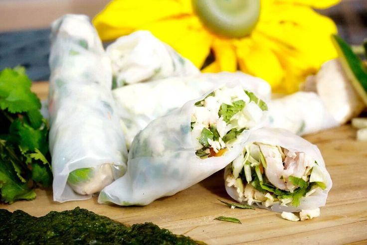 Healthy Low Carb Vietnamese Chicken Spring Rolls