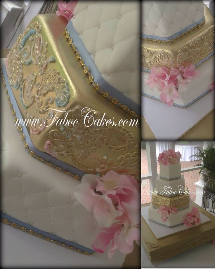 Elegant wedding cake made by Faboo Cakes. Four tier Fondant hexagons quilted with pearls and a hand painted and piped gold tier.