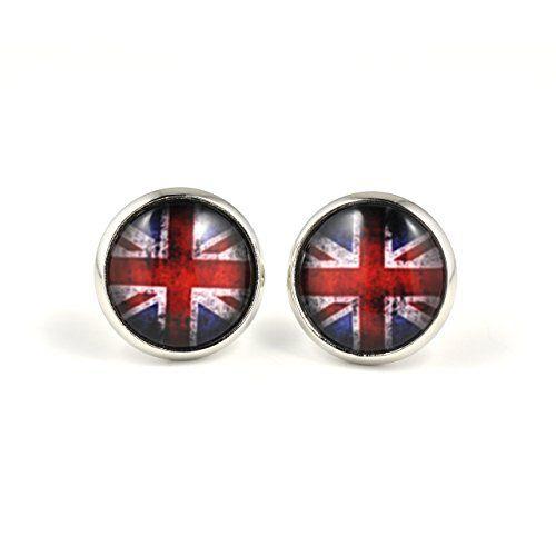 """Ohrstecker """"Vintage Union Jack"""" von SCHMUCKZUCKER Ohrringe silber nickelfrei England Flagge UK britisch 14 mm SCHMUCKZUCKER http://www.amazon.de/dp/B00N1Y6WFE/ref=cm_sw_r_pi_dp_Esm.tb04VFCHR"""