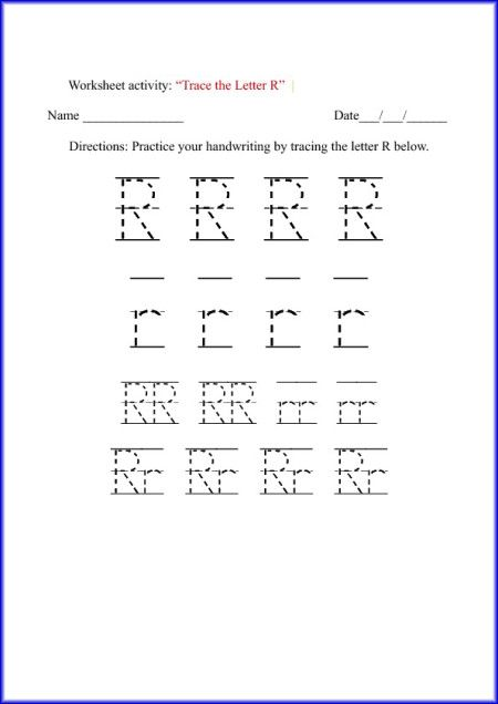 tracing letter r worksheet tracing pinterest kindergarten tracing letters and letters. Black Bedroom Furniture Sets. Home Design Ideas