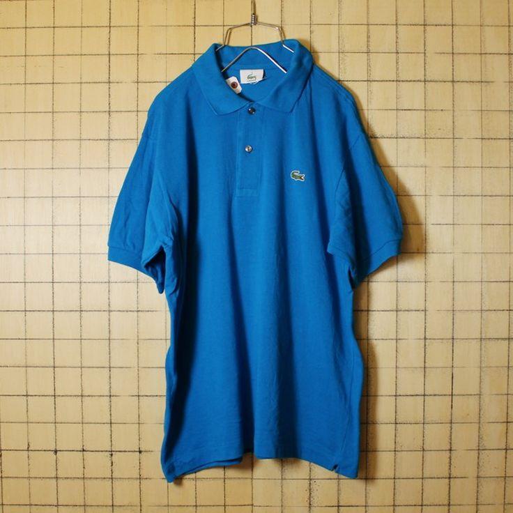 古着 フレンチラコステ Lacoste ワンポイント ポロシャツ 半袖 ブルー メンズM相当