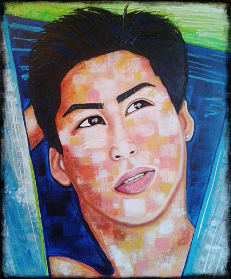 the dreamer by STEFANO acrylic on canvas(50x60cm) acrylic,painting,portrait,man,fashion art,fashion,face,painter,artist,faces