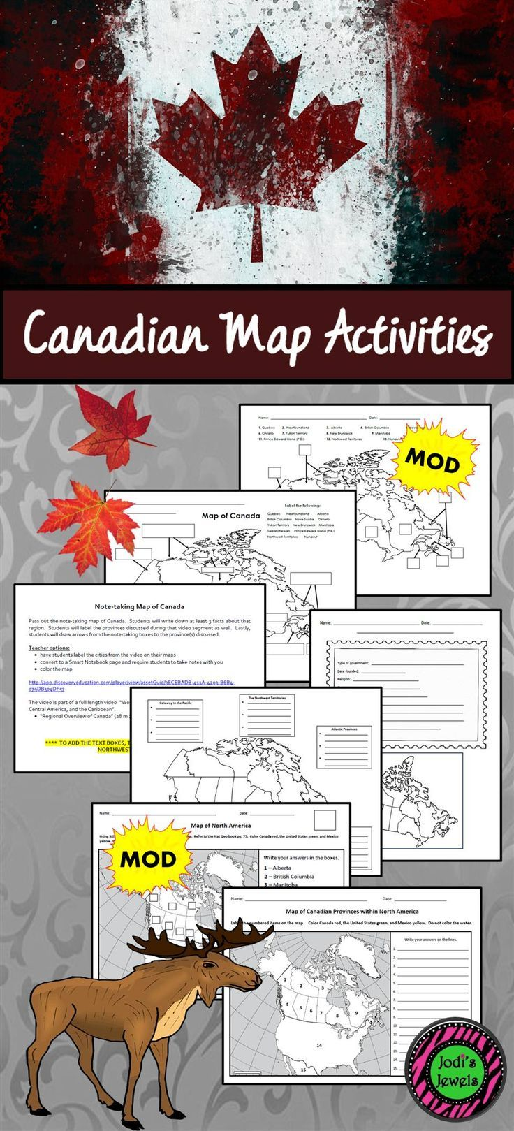 Enhance your Canadian unit with these map activities from Jodi's Jewels. Included are political color and label maps, a note-taking map with a video reference, and a postcard map. MODIFIED maps are available. Visit Jodi's Jewels today!
