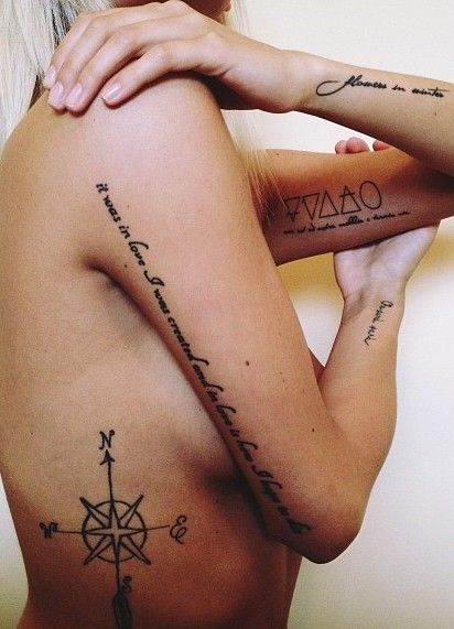 """I love the one on her arm. """"It was in love I was created and in love is how I hope to die"""""""