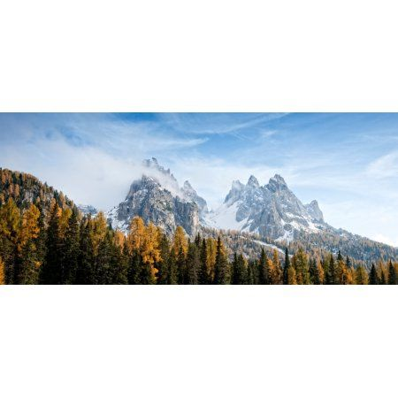 Dolomite Mountains in fall Toblach Alto Adige Italy Canvas Art - Panoramic Images (36 x 12)