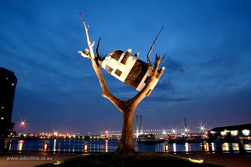 The Upside Down Cow in Tree, Melbourne Docklands. My most favourite location in the entire world.