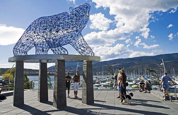 """Kelowna's new public art piece """"The Bear"""" at Stuart Park is shown in a handout photo. Broadway, a street in Orangeville, Ont., has officially become a great place in Canada.Vancouver's West End and Stuart Park in Kelowna have received the same accolade."""