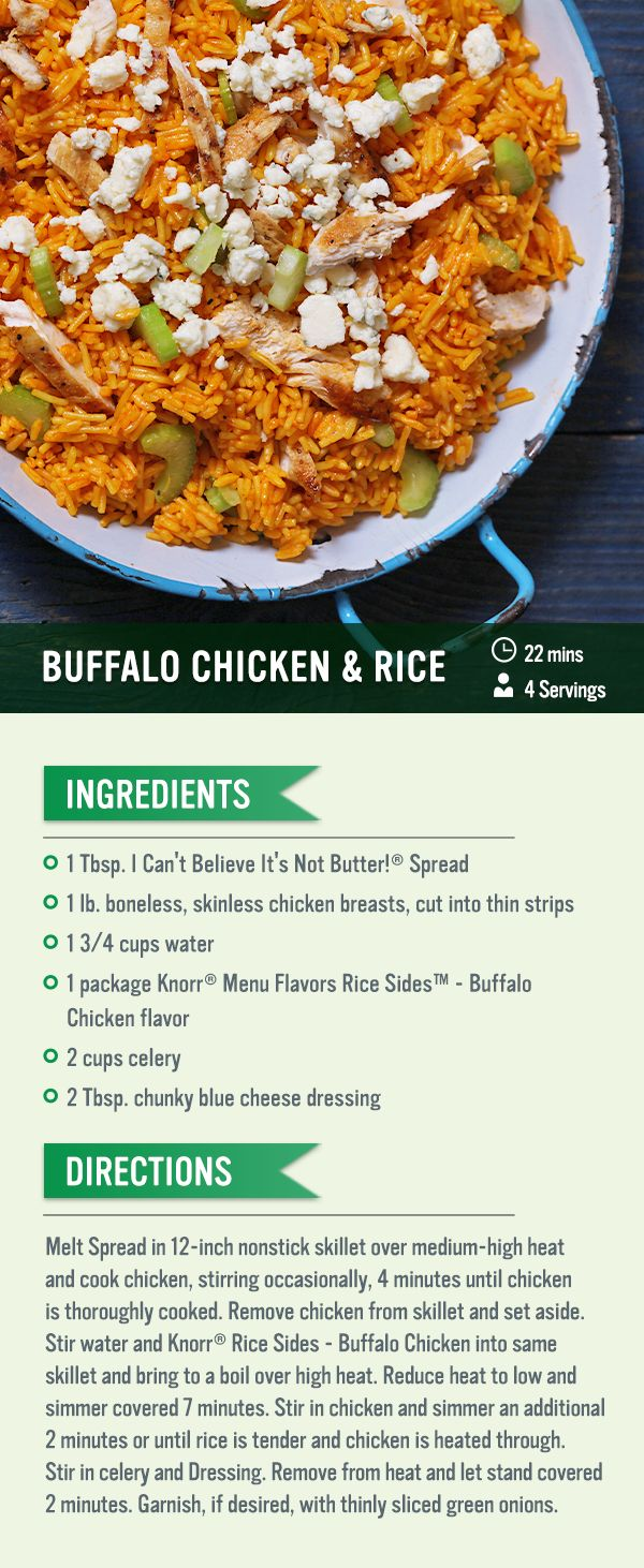 108 best knorr recipes images on pinterest rice recipes family this recipe for buffalo chicken rice is one to add to your cookbook cook the chicken and set it aside while you make ccuart Gallery