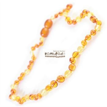 This premium amber necklace comes in a combination of lemon and cognac amber beads. Amber beads are finished in a polish compared to the standard bud range. The amber necklace is approx 50 cm in length. Bambeado amber is genuine baltic amber.     The Bambeado comes together with a plastic screw clasp. While Bambeado amber comes in several colours, the colour is just a matter of personal choice.