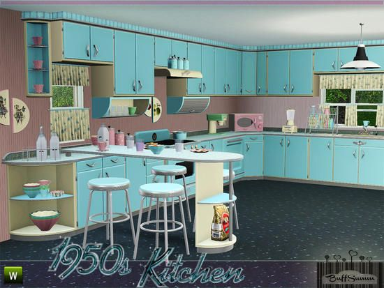 Buffsumm 39 s 1950s kitchen part 1 simspiration stuff for Cuisine retro 50 s