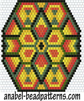 "Схема кулона ""Индейское солнце"" - мозаичное плетение / peyote pattern"