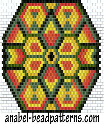 "Scheme pendant ""Indian Sun"" - a mosaic weaving / peyote pattern"