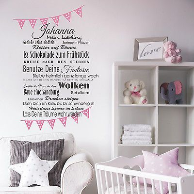 Good Details zu Wunschname W nsche M dchen Baby Wandtattoo Wanddeko xcm Wimpelkette Geburt