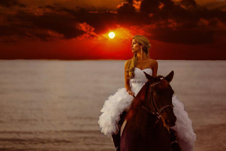 Kobieta, Koń, Zachód słońca