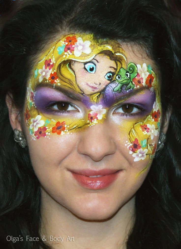"""✨Rapunzel from """"Tangled"""" the movie. One of my favorite cartoons.   DO YOU WANT TO PAINT LIKE ME ⁉️ Check out the International Face Painting School — Ultimate online face painting course to get Pro skills without confusion. ⚡ Continue reading ➡"""