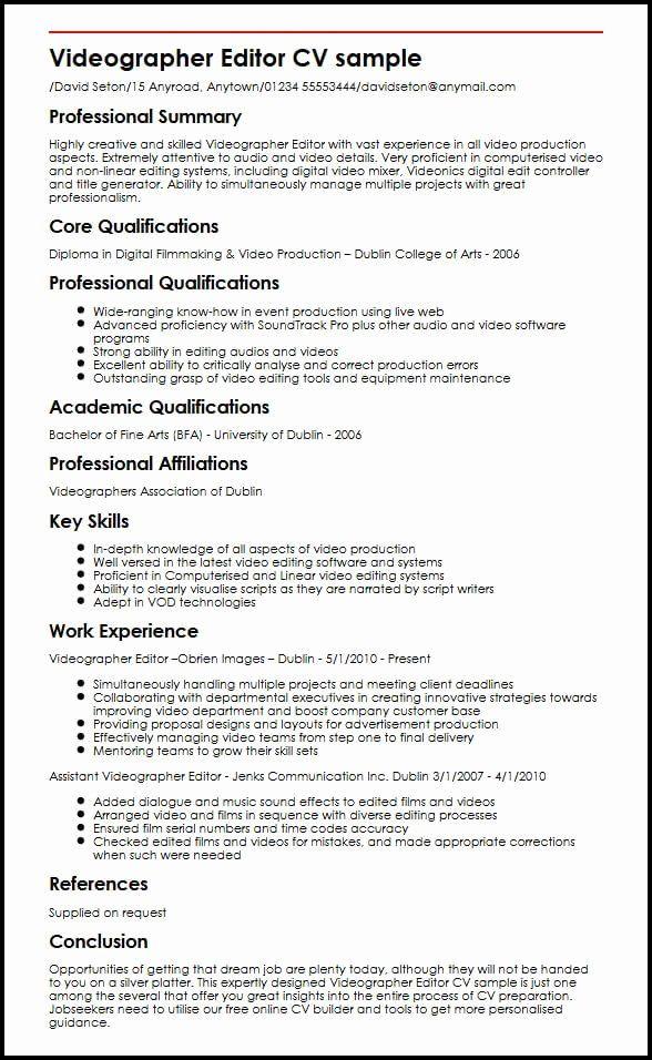 Photographer Job Description Sample Inspirational Videographer Editor Cv Sample Cv Template Video Resume Resume