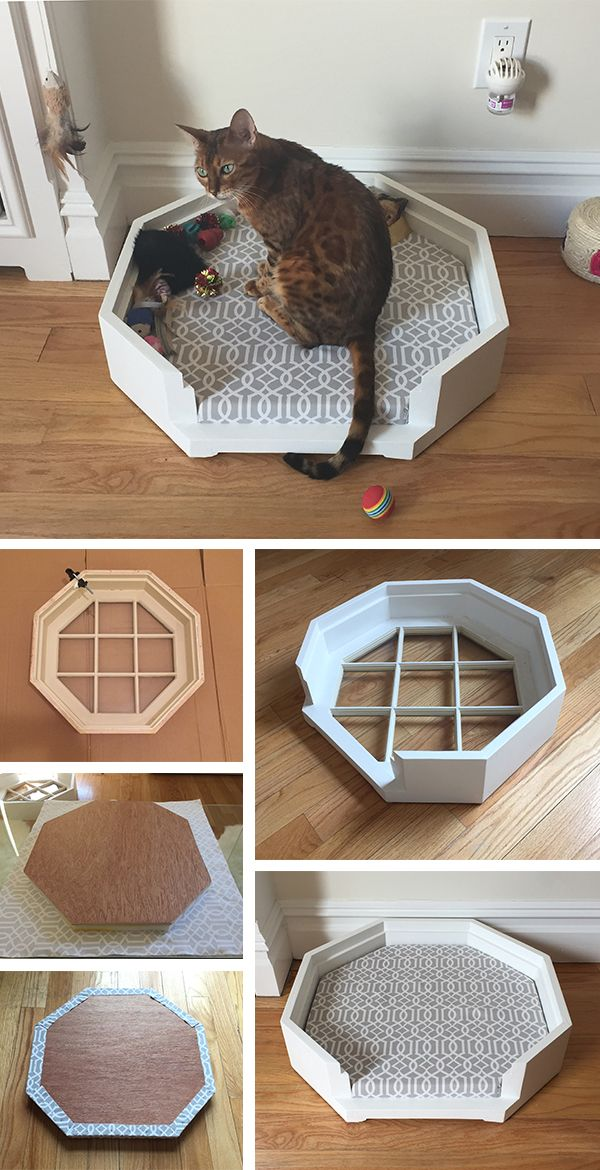 "Octagon Dog/Cat Bed – This project was created from an old octagonal window my Mom had leftover from a renovation. Using a saw, I removed the front section and repaired the splintered pieces using wood glue and filler. Then the wood was sanded and painted. For the cushion, I had a 3/8"" piece of plywood cut to size at my local hardware store. I cut a piece of 1"" foam the same shape and wrapped both in durable fabric using 1/4"" upholstery nails. *TIP* Use pliers to hold nails while hammering."