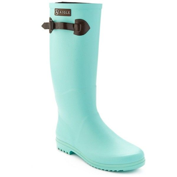 Aigle Aigle Chantebelle Pop Rubber Rain Boot (398064401) ($55) ❤ liked on Polyvore featuring shoes, boots, knee-high boots, multiple colors, aigle boots, multi colored boots, rubber boots, wellies rubber boots and mid heel boots