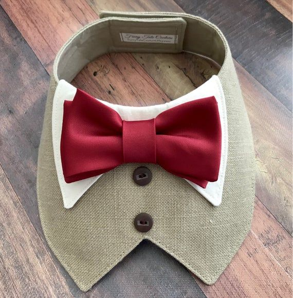 Linen Tuxedo/Tux bib-style bandana for canines or cats – customized made to order – your alternative of colours