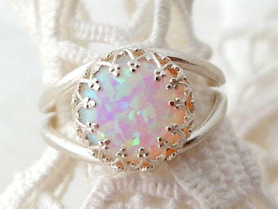 White opal ring Sterling Silver ring Gemstone by EldorTinaJewelry, $53.00