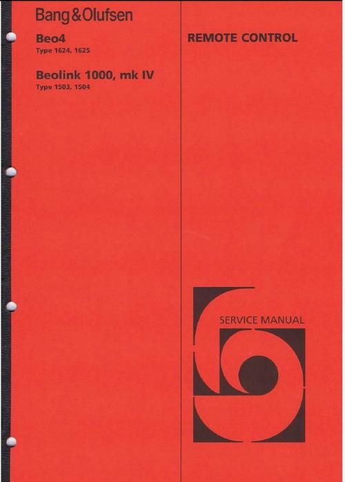 Bang & Olufsen Service Manual for :  Beolink-1000 (type 1503 , 1504)  Beo-4 (type 1624 DOWNLOAD