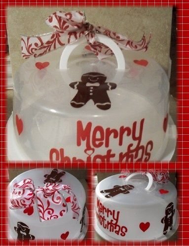 Merry Christmas Gingerbread Cake Carrier Vinyl