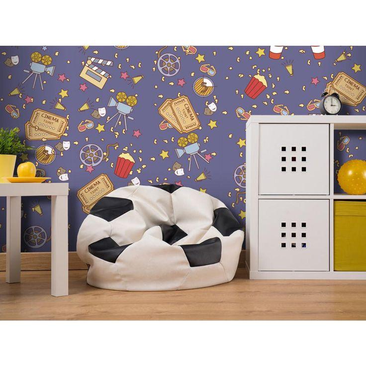 Kolorowa tapeta dla pokoju dziecka z filmowymi motywami. #tapety #tapeta #pokójdziecka #dekoracje #homedecor #artgeist