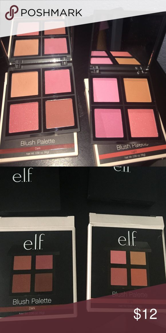 2 elf blush palettes ! 2 brand new elf blush palettes ! The light palette and the dark blush palette all very great pigment and quality !! That's 8 different colors ! ELF Makeup Blush