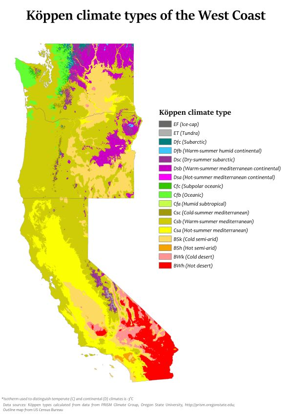Köppen climate types of the US West Coast