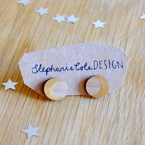 Wood and Gold Moon Crescent Round Stud Earrings Gold on Walnut Woos, stirling silver earrings by Stephanie Cole Design