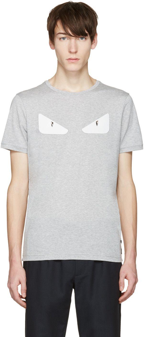 FENDI Grey 'Bag Bug' Basic T-Shirt. #fendi #cloth #t-shirt