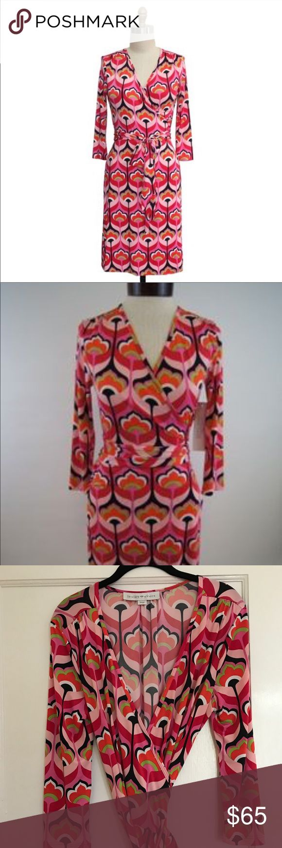 Lesley Evers, Pink Wrap Dress, Large Never worn adorable patterned wrap dress. Lesley Evers is a local SF designer. Tagged Lily for visibility. Beautiful polyester/spandex wrap dress in pinks, orange, black, and green with a mid century flair. 3/4 sleeve and wrap around bodice. Photos 6 & 7 are to see what the fit is like. Both are the same wrap dress in a different pattern. Lilly Pulitzer Dresses