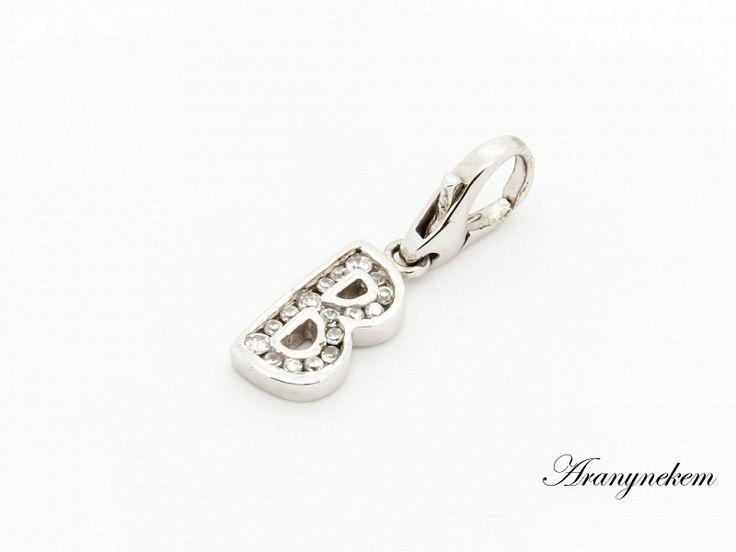 Ródiumos ezüst cirkónia köves B betű charm medál