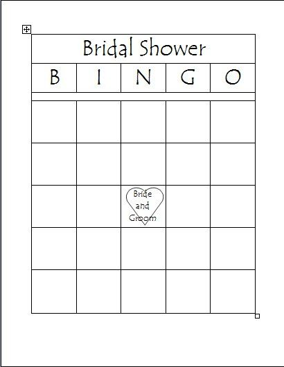 Free Printable Bridal Bingo Template