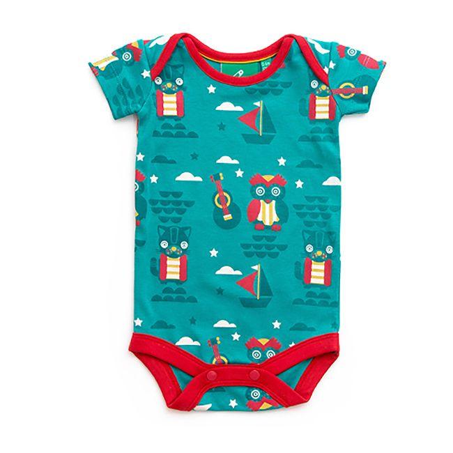 Little Green Radicals - Body para Bebé com Padrão Coruja e Gato – Azul
