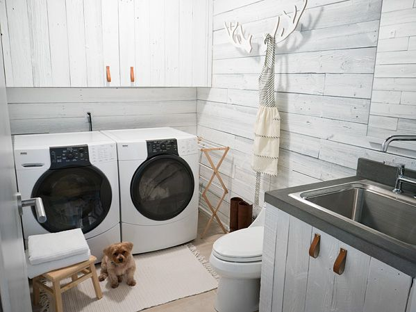 Home Sweet Home on a Budget: Awesome Laundry Rooms by Bloggers - I'm betting that most of us do our laundry in a place that has one or more of these characteristics:  it's a small room barely big enough for the two big appliances, you have to walk through it to get someplace else, it lacks storage space, and/or it's in a windowless basement.  Am I right?