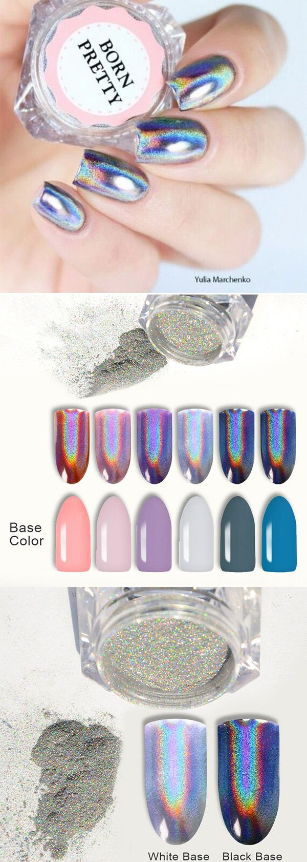#holographicnails, #bornpretty hottest glitter nails, nice rainbow effect, try yours soon, see more details in bornprettystore.com