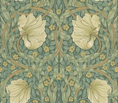 Pimpernel (210389) - Morris Wallpapers - A stunningly beautiful classic Morris style floral trellis with circular shapes and a strong symmetrical pattern within the leaves. Shown with white and yellow flowers on soft green – available in other colours. Please request sample for true colour mat