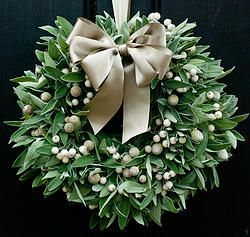 Sage and White Berry Christmas Wreath