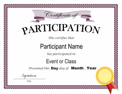 Certificate of participation template in PDF and DOC formats. Free downloads at http://mycertificatetemplates.com/download/certificate-of-participation/